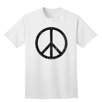 Peace Sign Symbol - Distressed Adult T-Shirt