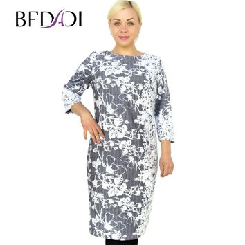 BFDADI 2016 Spring Plus Size Women Casual Straight Print O-Neck Plain Flowers Jacquard fabric Dress Female Vestidos 7-2254
