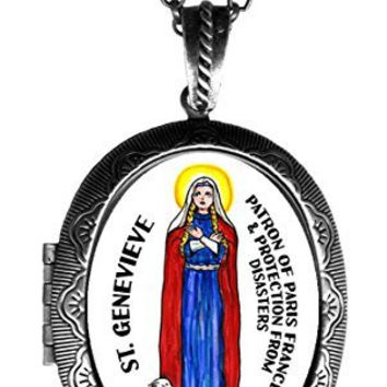 "St Genevieve of France & Disaster Protection Huge 2 1/2"" Solid Perfume Locket Pendant Antique Silver"