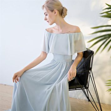 Off Shoulder Lace Up Elegant Evening Dresses Floor Length Party Gown Evening Gowns Formal Dresses