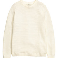 Rib-knit Cotton Sweater - from H&M