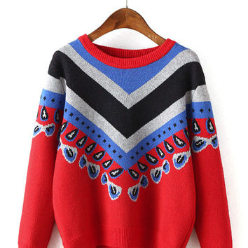 Triangle Striped Print Knitted Sweater