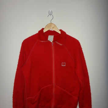 New Year Sale Vintage Helly Hansen Jacket Made In Norway OPTI Zipper Red Fleece