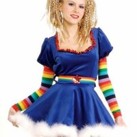 Secret Wishes Sexy Rainbow Girl Costume Dress, Belt,Sleevelets,Stockings Size- S