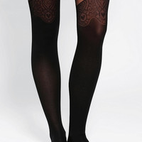 Bordered Mock Over-The-Knee Suspender Tight - Urban Outfitters