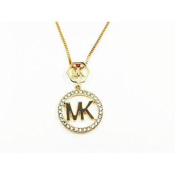 MK Fashion Logo Crystal Diamonds Necklace