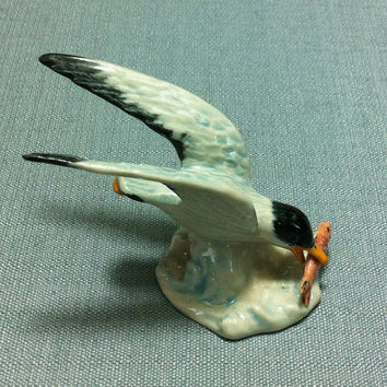 Miniature Ceramic Seagull Sea Bird Animal Cute Little Tiny Small White Figurine Statue Decoration Hand Painted Craft Collectible Figure Deco
