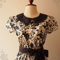 Black Floral Dress with Collar and Sleeve Gift for Her Vintage Tea Party Retro Prom graduation Dress Modest Dress