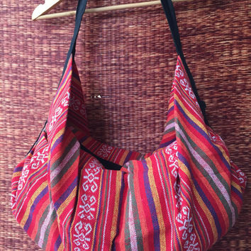 Tribal Backpack Crossbody Bags Overnight travel bag Boho Stripes Aztec Ethnic Hippie Ethnic Styles Hipster Native Beach festival 2in1 red