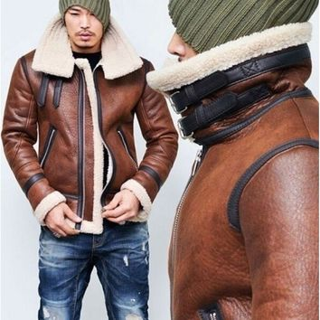 Winter Men Genuine Leather Coats Pilot Jacket Faux Lamb Wool Motorcycle Jackets