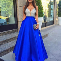 V-Neck Sparkle Royal Blue Prom Dresses