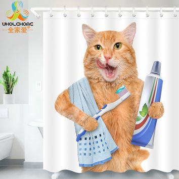 Cute Cat 3D Printed Shower Curtain Waterproof Polyester Fabric Bath Curtain - With 12 Hooks