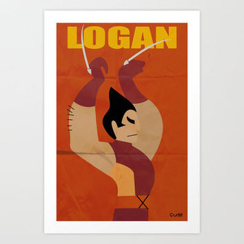 after vintage ads super heroes: Wolverine red Art Print by quibe