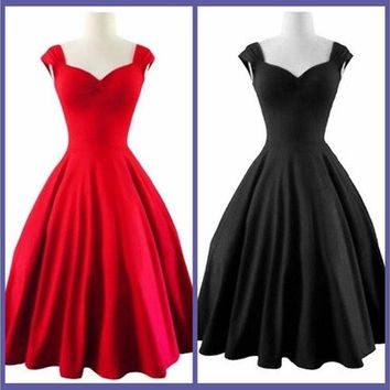 Summer New Sexy Fashion Women Party Dress Sleeveless Black and Red Dress Plus Size [8805230279]