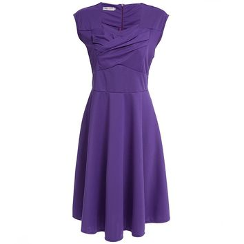 Vintage Sweetheart Neck Short Sleeve Pure Color Plus Size Midi Dress for Women