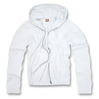 Classic Fitted Basic Zip Up Hoodied Sweater (Small, White)