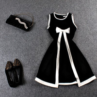 White Ribbon Waist Design Black Asymmetrical Sleeveless Mini Dress