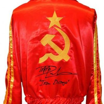 CREYONY Dolph Lundgren Signed Autographed 'Ivan Drago' Russian Boxing Jacket (ASI COA)