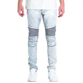 Embellish Nyc Gorgeous Biker Jeans In Light Blue - Beauty Ticks