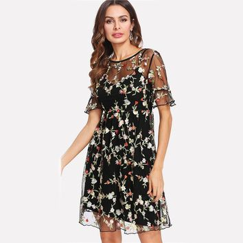 Summer Dresses Multicolor High Waist Short Sleeve Fit and Flare Ruffle Cuff Embroidered Mesh