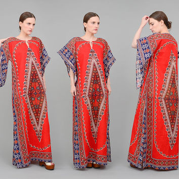 70s Caftan Red Ethnic Dashiki Dress Angel Sleeve 1970s Cotton India Dress Bohemian Hippie Festival Maxi Dress  Small Medium S M