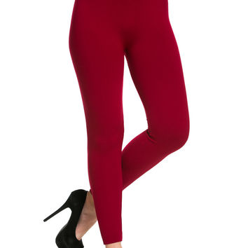 High Waist Fleece Leggings Wine