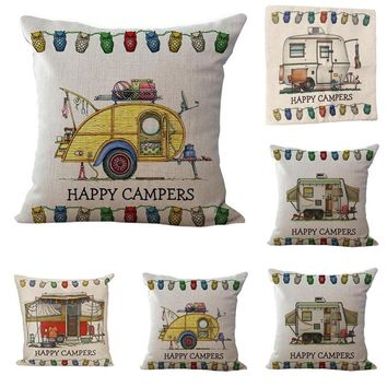 "Happy Campers Camp Bus Patterns Throw Pillow Cover Decorative Massager Pillows Linen Zip DIY Home Decor Gift""18X18''"