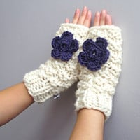 Fingerless gloves, daisy fingerless gloves cream and purple