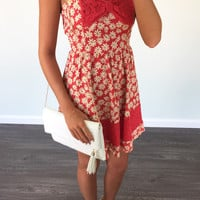 Driving Me Daisy Tomato Daisy Print Tank Dress
