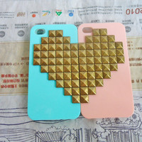 Lovers iPhone 4 4S hard Case Cover with bronze heart-shaped pyramid stud For iPhone 4 Case, iPhone 4S hand Case ,iPhone 4 GS case-143