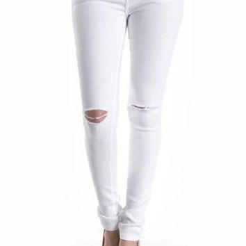 Josephine White Distressed Jeans