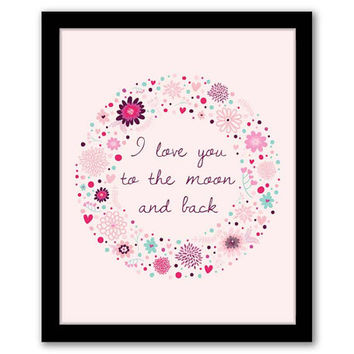 I Love You To The Moon and Back, Pink Art, Nursery Wall Art, Playroom Decor, Children's Art, Printable, Baby Shower Gift, INSTANT DOWNLOAD.