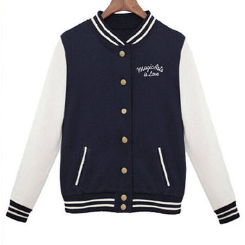 Blue Graphic Mini Print Full Buttoned Varsity Jacket