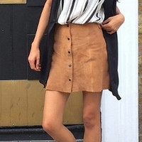 Suede Pleated A Button Skirts