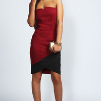 Emily Bandeau Contrast Asymmetric Bodycon Dress