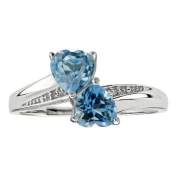 1.00 Ct Heart Natural Blue Topaz and Diamond Accent 925 Sterling Silver Ring