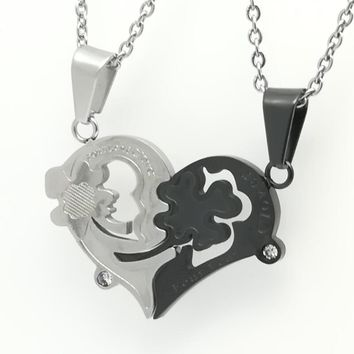 New Lovely Couples Stainless Steel Matching Hearts Love Symbol Pendant Necklace Lovers Gifts Black/Silver Color
