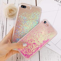 Glitter Phone Case For Iphone 8 7 6 6S Plus Bling Heart Liquid Transparent Clear Cover For Iphone