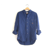 Vintage navy blue cotton shirt. Tomboy button down shirt. Preppy insignia shirt. size large