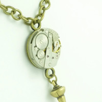 VictorianFolly SteamPunk Necklace with Vintage Watch Movement by VictorianFolly