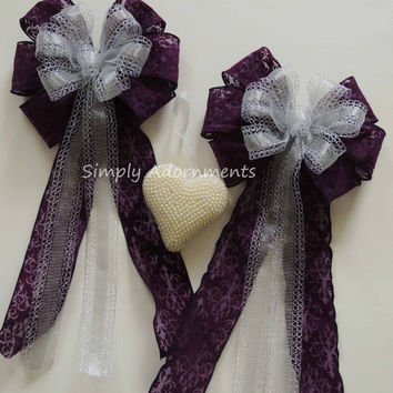 Eggplant purple Damask Silver Wedding Pew Bow Purple Silver Wedding Ceremony  decor Purple Silver Bridal Party Decor Purple Birthday Decor