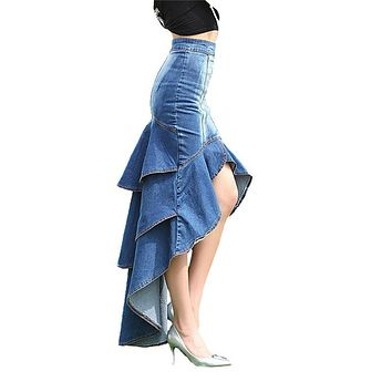 New Brand 2017 Spring Summer Fashion Slim Mermaid Style High Waist Long Denim Skirt Women Ruffles Dovetail Wash Skirt