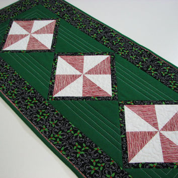 Quilted Table Runner , Peppermint Stripe Pinwheels and Christmas Holly