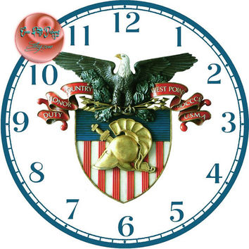 """West Point Insignia Art - -DIY Digital Collage - 12.5"""" DIA for 12"""" Clock Face Art - Crafts Projects"""