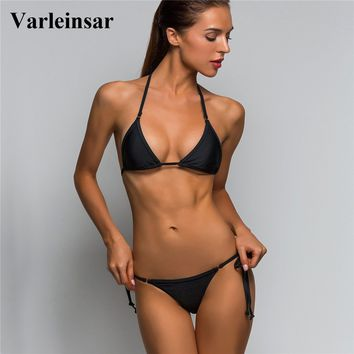 2018 Sexy Micro Mini String Tie Two-Pieces Separate Bikini Top Bottom Swim Brief Women Swimwear Female Brazilian Tanga Panty V02