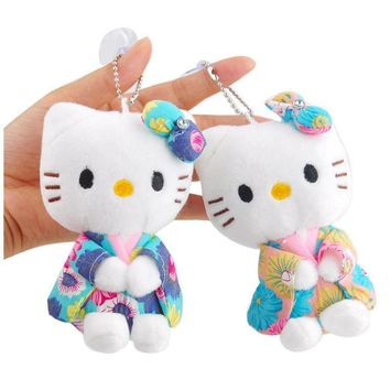 Small Kimono Hello Kitty Pendant Plush Toys Cute Cartoon Hellokitty Cat Soft Stuffed Doll Keychain bag accessory For Girls Gifts