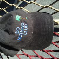 Retired-Do Nothing Club Cap- Black w/ blue lettering (Retired with a Palm Tree on the Back)