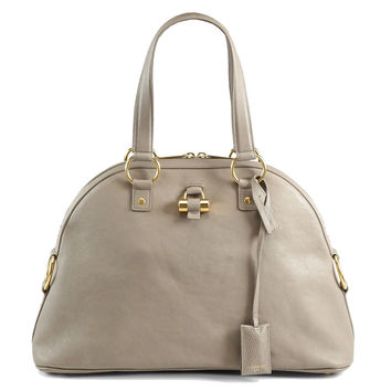 Saint Laurent YSL Large Muse Top-Handle Bag Gray Large Muse Leather Dome Satchel