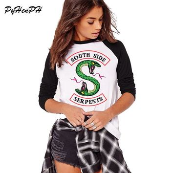 Southside Serpents Tshirt Women Full Sleeve Cotton T shirt Harajuku Riverdale Design Ladies Casual Tshirt Autumn Cotton Tees