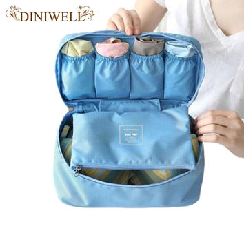 DINIWELL Travel Organizer Cosmetic Bag Portable Luggage Storage Case Bra Underwear Pouch Drawer Dividers Container